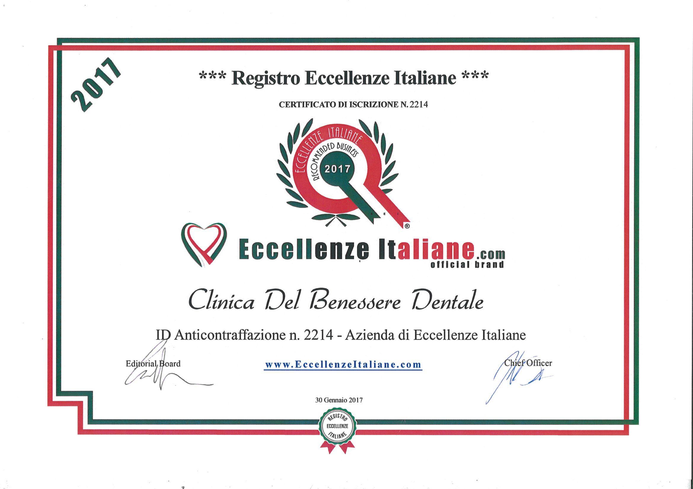attestato eccellenze italiane